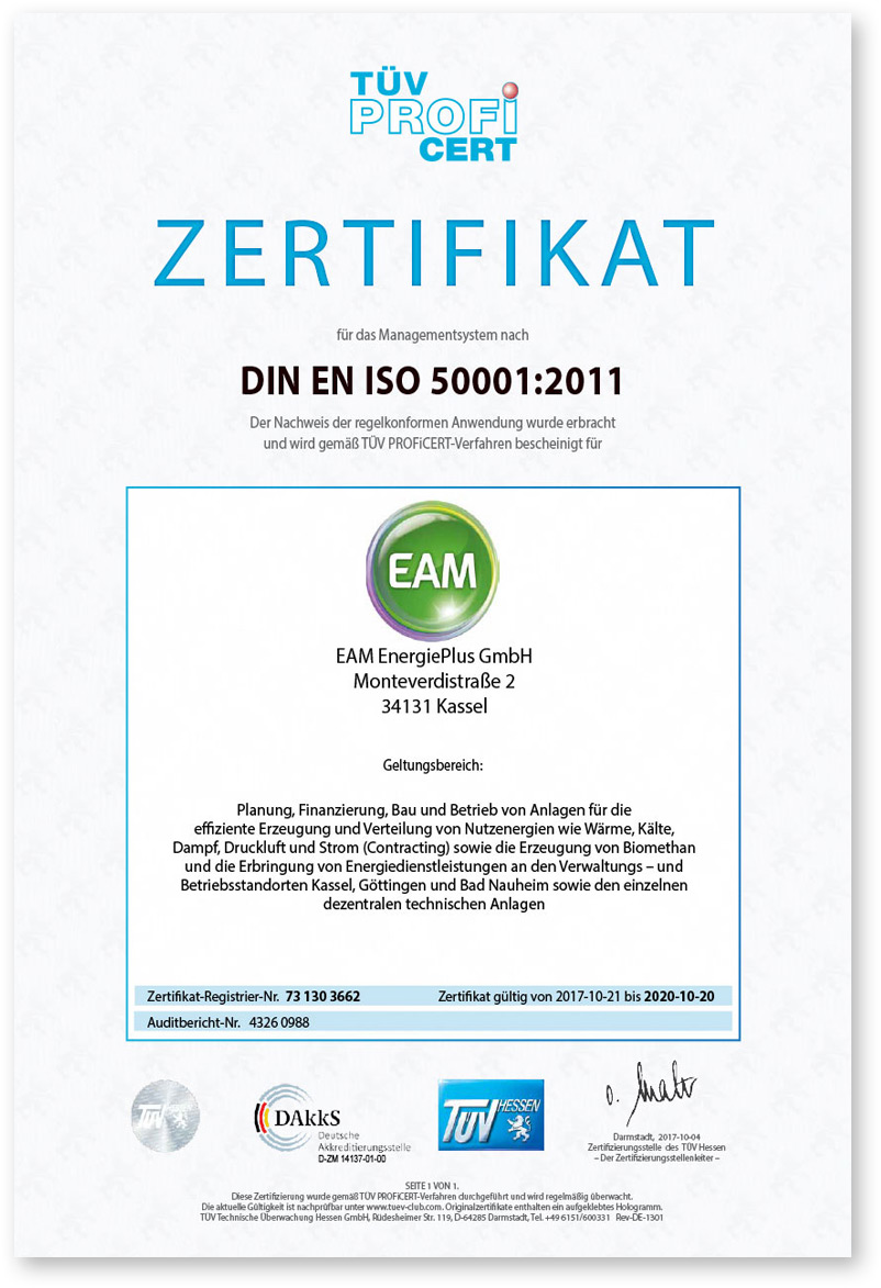 EAM Zertifikat Energieeffizienz